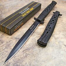 TAC FORCE BLACK Spring Assisted Open EXTRA LARGE Stiletto Folding Pocket Knife!!