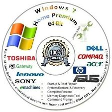 Windows 7 64 Bit Home Premium (SP1) Disc Reinstall | Install Repair DVD W/HD