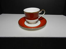 Mikasa Bone China Egyptian Terracotta Cup Saucer Set White Rust Gold Trm 1978-84