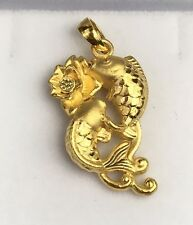 24K Solid Gold Hollow Lotus Flower &  Lucky Fishes Charm/ Pendant. 2.02 Grams