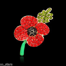 Gold Red Poppy Flower Brooch Crystal Diamante Pin Badge Remembrance Gift 12A