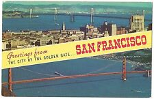Greetings CITY By The GOLDEN GATE San Francisco CALIFORNIA Vintage Postcard CA