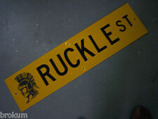 "Vintage ORIGINAL RUCKLE ST STREET SIGN 36"" X 9"" BLACK LETTERING ON YELLOW"