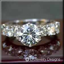 2.40 CT MOISSANITE ROUND FOREVER BRILLIANT SEMI ETERNITY ENGAGEMENT RING