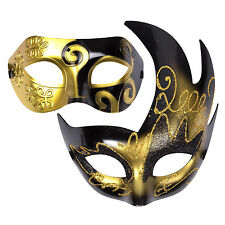 "His & Hers Halloween Mask Set Venetian Masquerade Party  - ""Aurora"" Black / Gold"