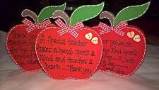 Handmade Wooden THANK YOU, TEACHER FREESTANDING APPLE  plaque - keepsake, gift