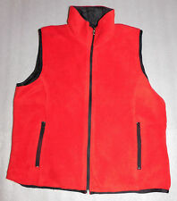 Lavon Womens Microfleece Red Vest Black Lining Side Zippered Pockets - Size M