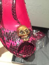 Alexander McQueen Faithful Crystal Skull Python Pink Peeptoe Pumps Shoes 38.5