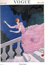 Vogue.Rose.Fashion.Staircase.1920's.Costume.Beauty.Botanical.Print