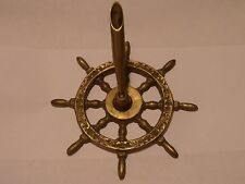 VINTAGE BRASS SHIP WHEEL DESK PEN HOLDER