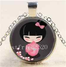 Cute Origami Doll Cabochon Glass Tibet Silver Chain Pendant  Necklace