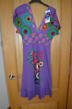 Desigual Purple & Pink Short Sleeve V Dress Knee Length M Medium 10 - 12