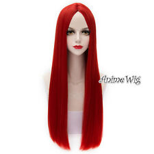 Lolita Red Long 65CM Straight Fashion Party Girl Cosplay Wig + Wig Cap