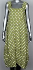 Ladies Italian Lagenlook Polka Dot Sleeveless Long 2 Pocket Linen Tunic Dress