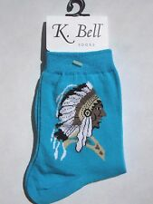~*~New K. BELL Turquoise Blue Native American Tribal Socks #12105 NWT Sz 9-11~*~