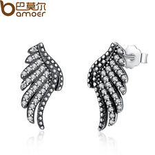 Bamoer Authentic S925 Sterling Silver Feathers Stud Earrings With Clear Crystal