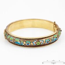 Antique Vintage Deco Sterling Silver Chinese Painted Enamel Repousse Bracelet