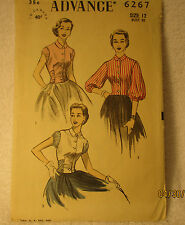 Vintage late 1930's Woman's 3 Blouses Advance Pattern,Historical, Costumes
