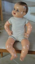 """RARE ANTIQUE REAL BABY SIZE 21"""" HAND CRAFTED CRYING DALL CLOTHES SIGNED """" KD """""""
