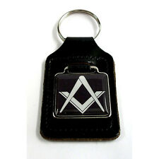 Masonic Freemason Key Ring - Black, on a black leather key ring fob