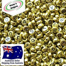 FAST SHIPPING 30g (approx 250 pcs) Alphabet Letter beads Round 7mm BLACK ON GOLD