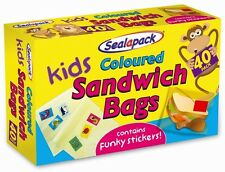 NEW KIDS COLOURED SANDWICH BAGS SEAL-A-PACK WITH FUNKY KIDS STICKERS PACK OF 50
