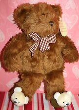 """*NEW* Avon 12"""" Teddy Bear that Prays with you Checkered Bow & Bear Slippers"""