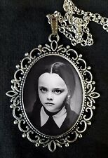 Wednesday Addams Family Large Antique Silver Pendant Necklace Movie DVD Ricci
