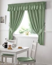 GREEN GINGHAM EMBROIDERED PELMET TO MATCH KITCHEN CURTAINS L136X W10