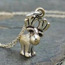 Cute Moose Necklace - 925 Sterling Silver - 3D Canadian Elk Charm Jewelry NEW