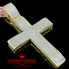 Pure Sterling Silver Micro Pave 14k Yellow Gold Finish Cross Jesus Pendant Charm
