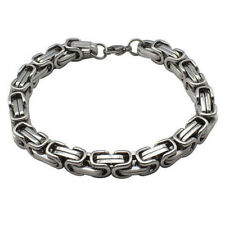 8MM MEN'S SILVER GOLD CHUNKY LINK CHAIN BYZANTINE STAINLESS STEEL NECKLACE