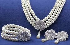 Luxury Queen Bridal White Pearls Jewellery Set Necklace Earrings & Bracelet S310