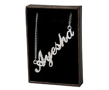 "Name Necklace ""AYESHA"" - 18ct White Gold Plated - Swarovski Elements - Birthday"