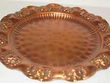 """Solid Copper Serving Tray 13 1/2"""" Scalloped Trim, Hammered Copper Center"""