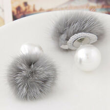Women Sofe Fur Ball PomPom Pearl Dangle Earrings Jewelry Elegant