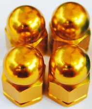 """Old school BMX style bicycle acorn axle nuts 3/8"""" X 26T (SET OF 4) GOLD"""