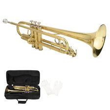New LADE Brass Bb 3 Key Trumpet with Case Pair of Gloves for Beginner Golden