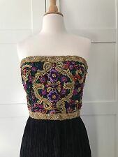 MARY McFADDEN Gown Beaded Halter Fortuny Pleated size 4 Mint Condition