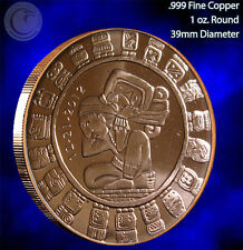 """Mayan Calendar"" Copper 1oz .999 Fine Copper Beautiful Round"