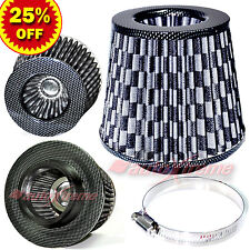 "3"" 76mm Inlet HIGH FLOW Short Ram Cold Air Intake ROUND Cone MESH Filter BLACK"