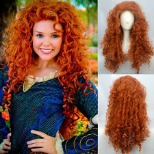 Movie Wig Brave Merida Long Curly Red-Brown Cosplay Wigs