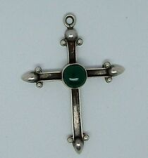 Sterling Silver Cross Pendant with Cabochon Green Stone