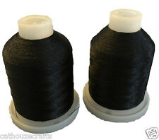 CATHOUZE CRAFTS MACHINE EMBROIDERY THREAD TWO 1100 YARD MINI SPOOLS BLACK