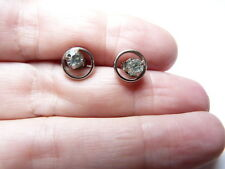 Vintage silver tone metal clear prong set rhinestone studded clip on Earrings