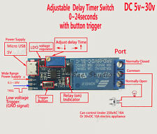 DC 5v 12v 24v Adjustable Trigger Delay Time Switch Timer Board Relay Module Car