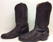 MENS UNBRANDED COWBOY LEATHER DARK BROWN BOOTS SIZE ?
