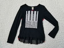 Harajuku Mini Target Girls XL 14 Black Musical Ruffle peplum long sleeve