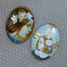 2 pcs 30x40mm Domed Oval Cabochons Character cabochon CH017