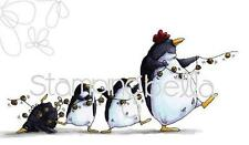 New Stamping Bella Cling Rubber Stamp PENGUINS march holidays free us ship